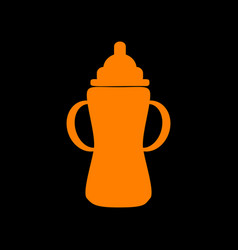 Baby bottle sign orange icon on black background vector