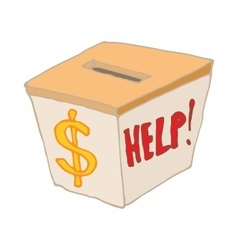 Box with cash donations icon cartoon style vector