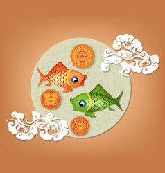 chinese mid autumn festival background with carp vector image
