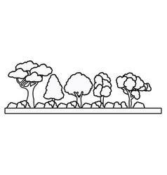 Collection tree forest natural foliage outline vector