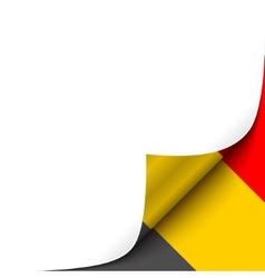 Curled up paper corner on belgian flag background vector