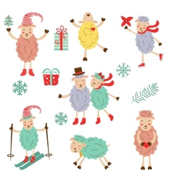 Cute funny sheeps collection vector image vector image