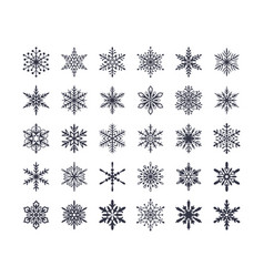 cute snowflakes collection isolated on white vector image