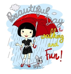 Cute spring girl with umbrella vector