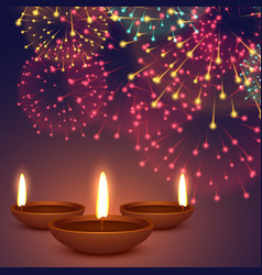 Diwali diya with fireworks background vector