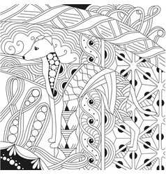 Dog zentangle styled with clean lines for coloring vector