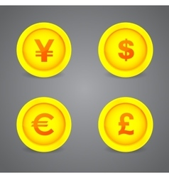 Dollar Euro Pound and Yen currency signs vector image vector image