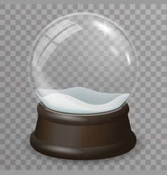 Glass ball highlight snow wooden stand 3d vector