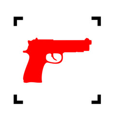 Gun sign red icon inside vector