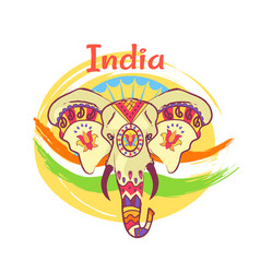 Indian elephant head with bright ethnic ornaments vector