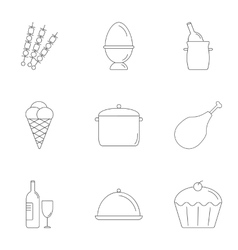 Kitchen cooking icons set outline style vector
