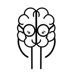line icon adorable kawaii brain with glasses vector image