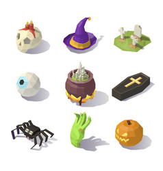 low poly halloween decorations vector image