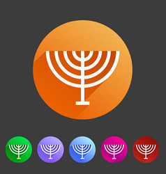 menorah hanukkah icon flat web sign symbol logo vector image