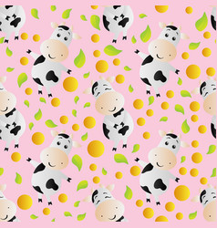 pattern with cartoon cute toy cow vector image