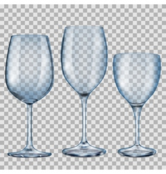 Transparent blue empty glass goblets for wine vector