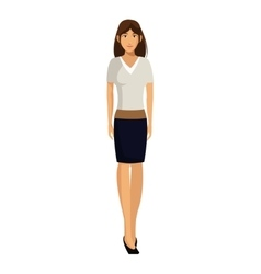 Woman white shirt business work vector