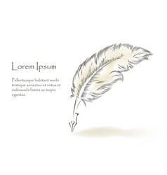 Writing old feather paint with text vector