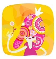 Yellow and pink princess portrait vector