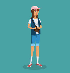 girl glasses teen purse shorts blue vest vector image