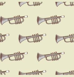 Background with musical instrument trumpet vector