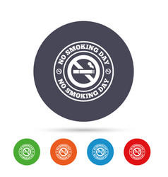 no smoking day sign icon quit smoking day vector image