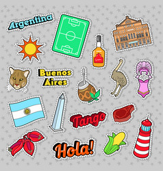 Argentina travel elements with architecture vector