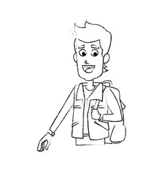 young man cartoon icon image vector image