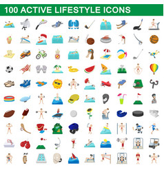 100 active lifestyle icons set cartoon style vector