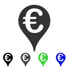 Euro map pointer flat icon vector