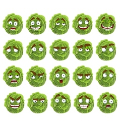 cute cartoon green cabbage smile with many vector image