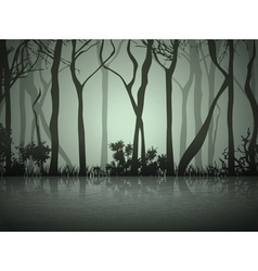 Dark fog forest vector
