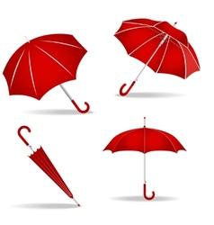 Red umbrellas set vector image
