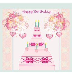 Happy birthday card with birthday cake vector