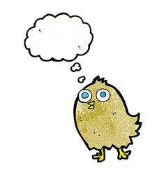 Cartoon happy bird with thought bubble vector