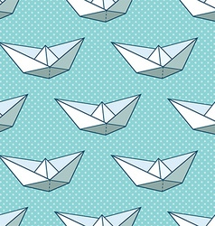 Origami ship pattern vector