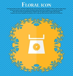 Kitchen scales icon sign floral flat design on a vector