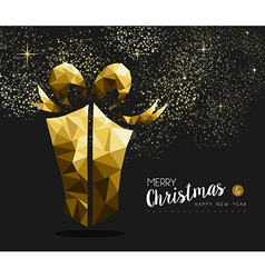 Merry christmas happy new year gold gift low poly vector image
