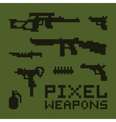 Pixel art weapons set vector