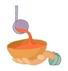 Stretched hand with a bowl for food icon vector