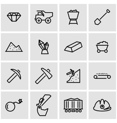 line mining icon set vector image