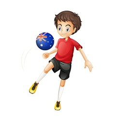 A football player using the ball with the vector image vector image