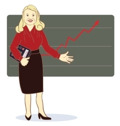 A woman with a calculator stands near the diagram vector image vector image