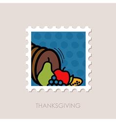 Autumn cornucopia stamp harvest thanksgiving vector