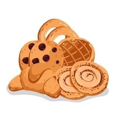 Bakery pastry isolated cartoon set vector
