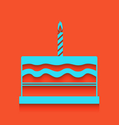 birthday cake sign whitish icon on brick vector image vector image