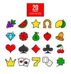 Bright casino line icons slot-machine symbols vector