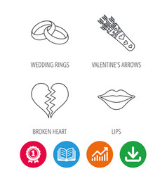 Broken heart kiss and wedding rings icons vector
