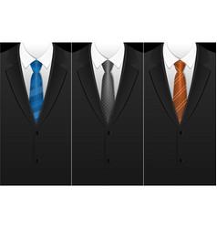 Business card tuxedo tie or necktie set vector