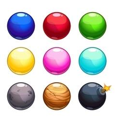 Cartoon colorful bubbles balls set vector